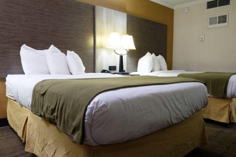 Standard double beds hotel room